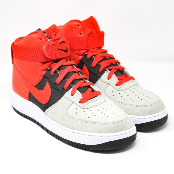online store a6db8 1a306 Nike Air Force 1 One High Grey Red Black 806403 8 NWT